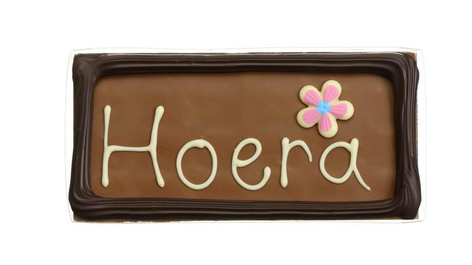 """Chocolade wenstablet """"Hoera"""""""