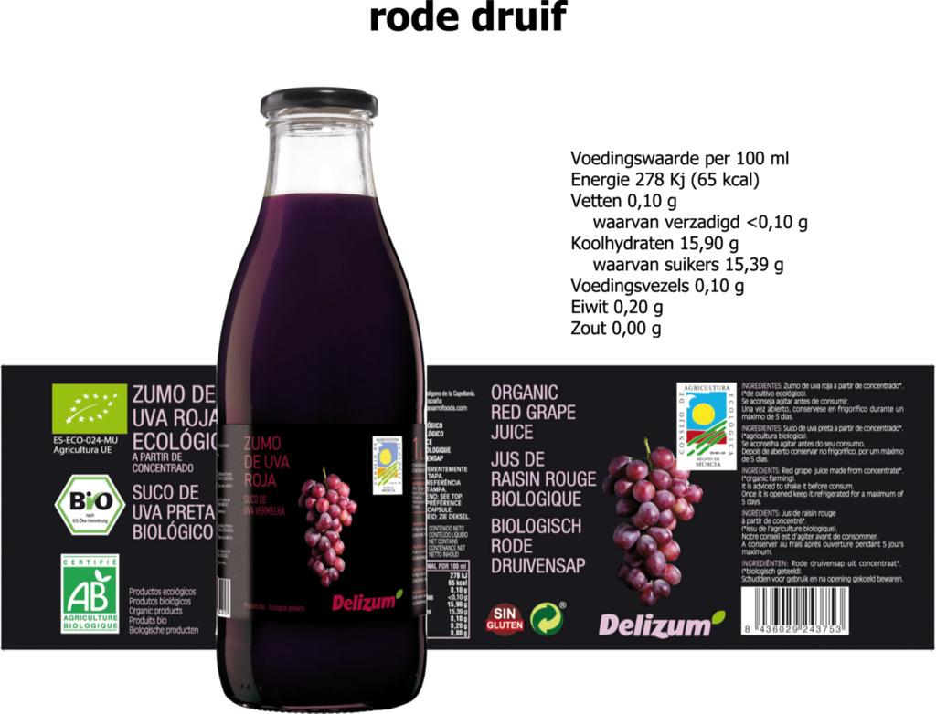 Rode druivensap Delizum 750ml